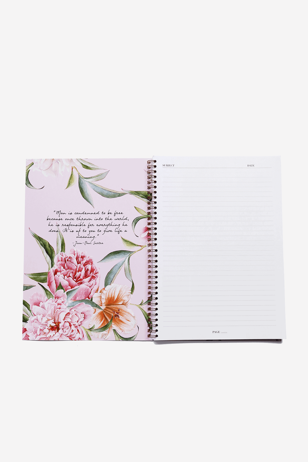 Supplied by Lily A4 Spiral Notebook in Luxurious Blush Floral