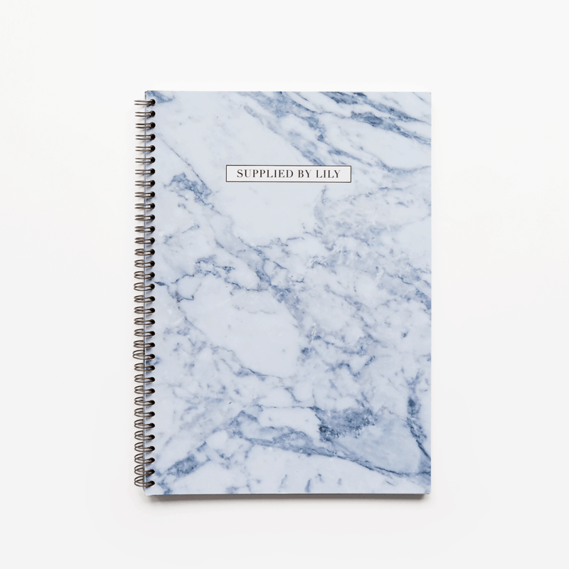Supplied by Lily Luxury Student Stationery A4 Spiral Notebook in Luxurious Marble