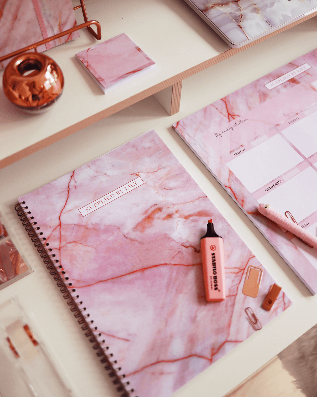 A4 Spiral Notebook in Luxurious Rose Quartz