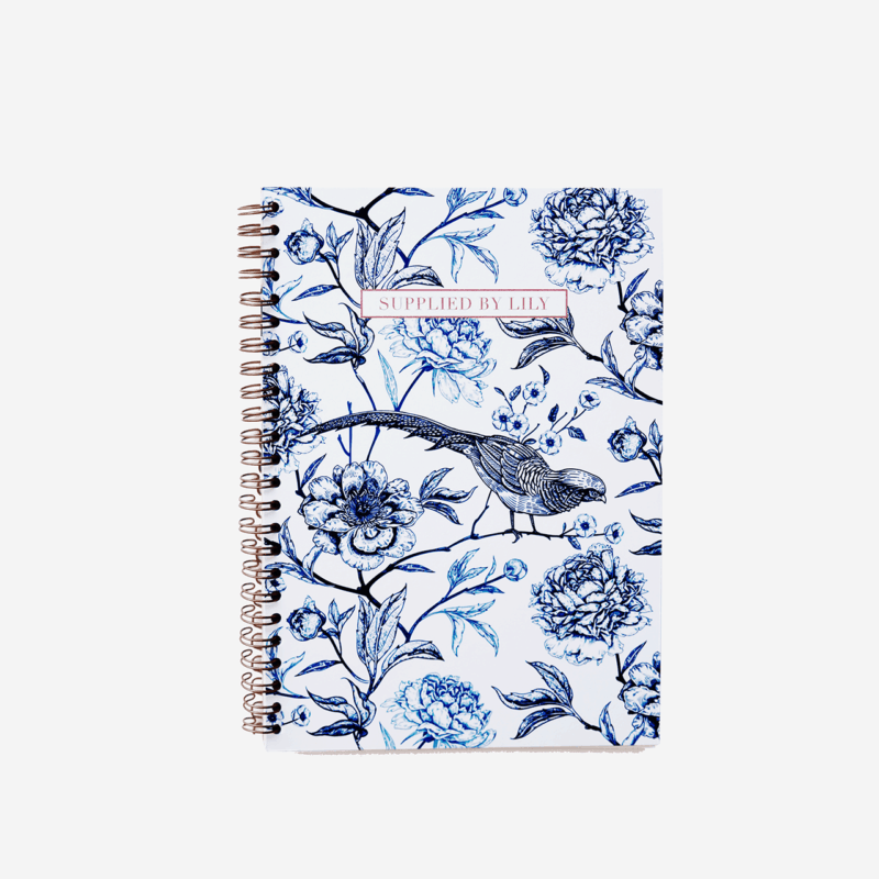 A5 Spiral Notebook in Luxurious Toile de Jouy