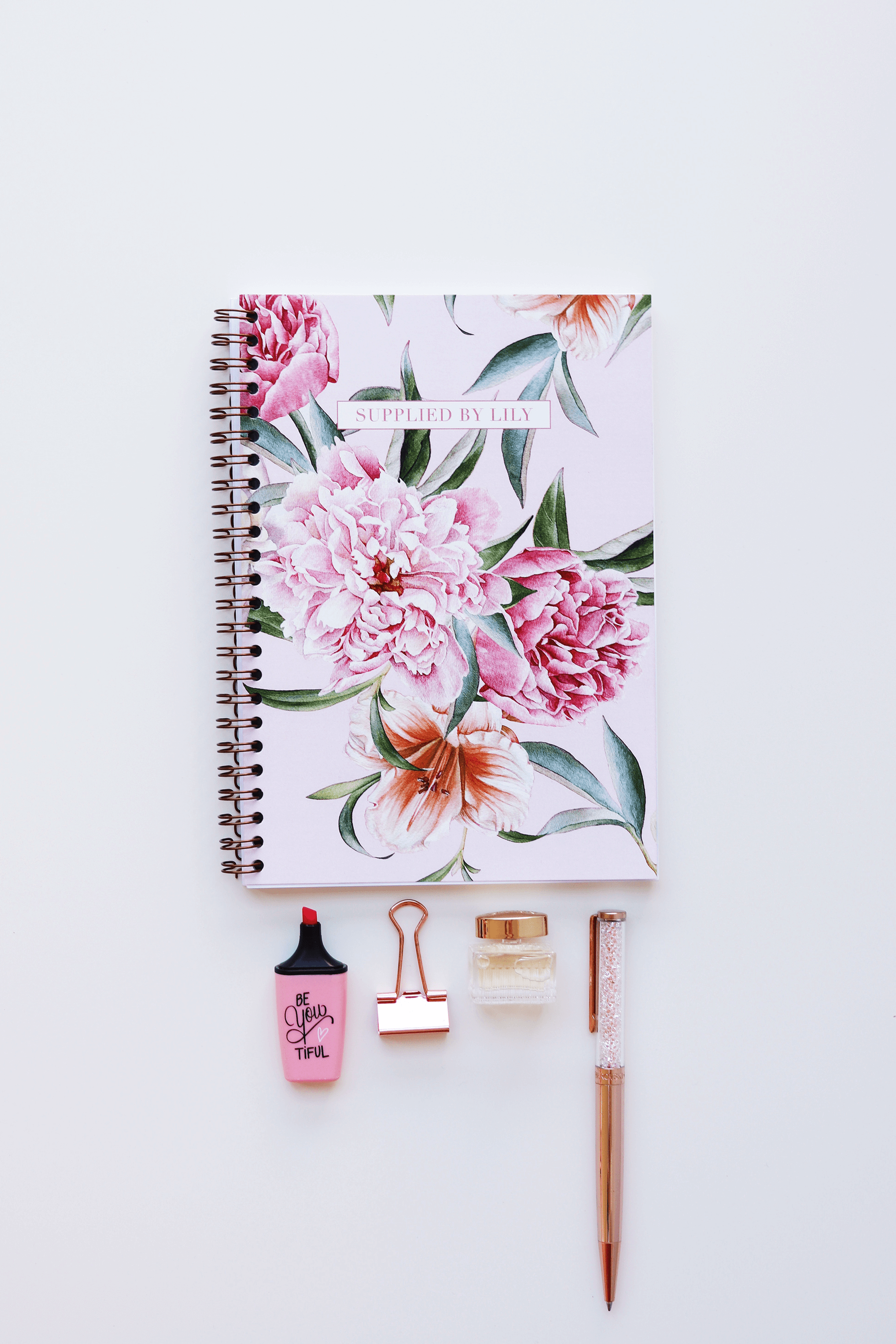 A5 Spiral Notebook In Luxurious Blush Floral Supplied By Lily