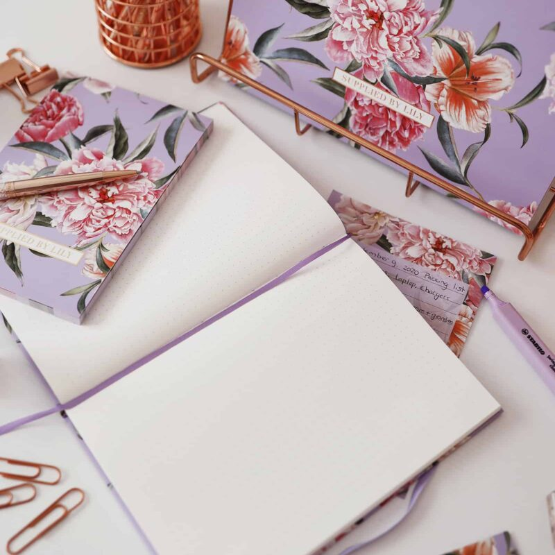 Bullet Journal in Luxurious Lilac Floral